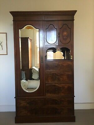 Original Victorian Mahogany Inlaid Antique Wardrobe with Mirror