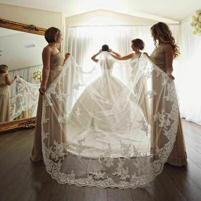 White Ivory Wedding Veil 1T Lace Sequins Cathedral Length Bridal Veils With Comb