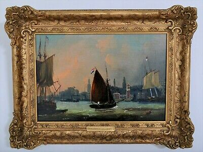 Antique oil on canvas painting nautical seascape Irish Frederick Calvert 1840