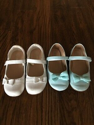 Cherokee Two Pairs of Girls Shoes White and Turquoise Size 11 ( little girls) .