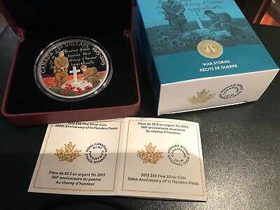 2015 $50 Fine Silver Colourized Coin - 100th Anniversary of In Flanders Fields