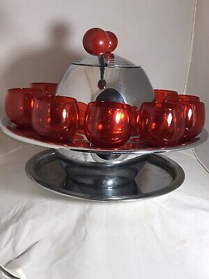 Vintage Art Deco Knowles Saturn Red Punch Bowl Set With Base 10 Glasses & Ladle