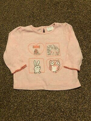 F&F pink woodland animals bunny owl long sleeved top baby girls 3-6 months