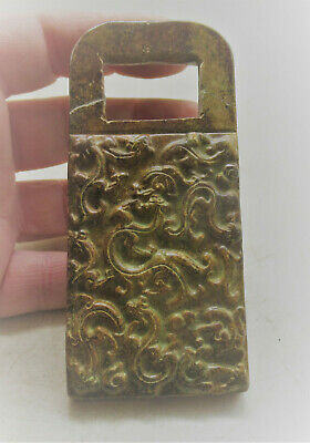 Beautiful Antique Chinese Jade Stone Ornament Depicting Dragons