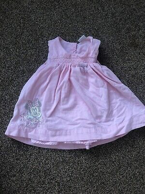 Disney Minnie Mouse pink corduroy striped sleeveless dress baby girls 3-6 months