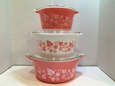 Vintage Pyrex Pink Gooseberry 6 piece Casserole Set w/Lids 473 474 475 Beautiful