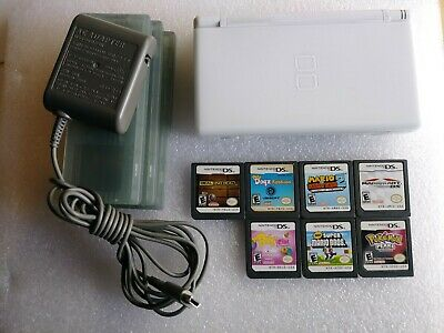 Nintendo DS Lite (White) Bundle w/Charger and 7 Games(incl Pokemon Pearl!)