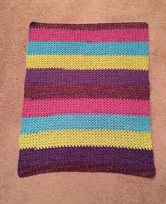 """Brand New COLORFUL Hand Crocheted Multi-Colored Baby Afghan Blanket 24 x 32"""" NEW"""