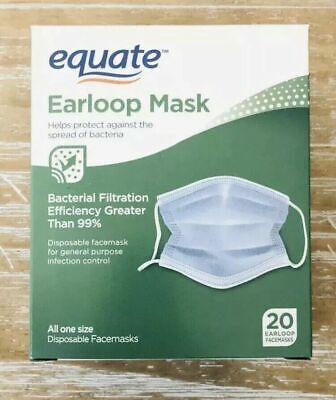NEW 20 EQUATE Medical Earloop Face Mask Disposable SAME DAY SHIPPING