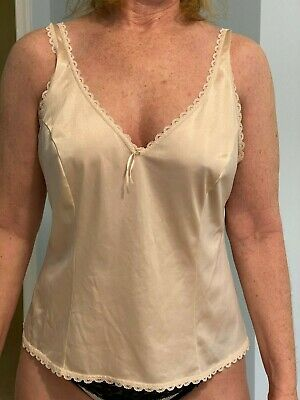 VTG Sears Beige Camisole with lace Silky Size 38 Made in USA