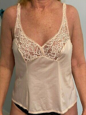 VTG Bali Pink Camisole with lace Silky Size 38 Made in USA