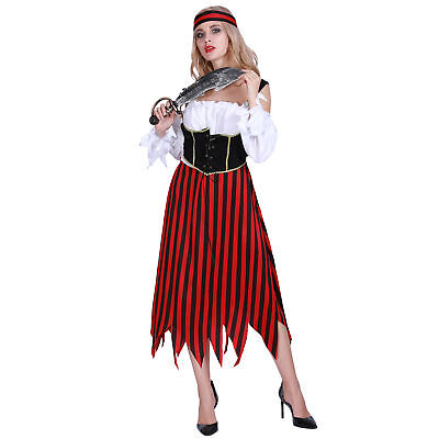 Ladies Sultry Pirate Wench Captain Halloween Party Fancy Dress Costume Outfit