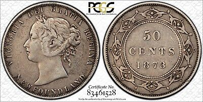 1873 Newfoundland Silver 50 Cents PCGS VF-35 Repunched NT 50c