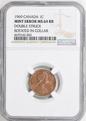 1969 Canada Mint Error Cent NGC MS-64 RB Double Struck Rotated in Collar