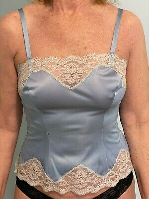 VTG Henson Kickernick Baby Blue Camisole with lace  Size 35 Made in USA Antron