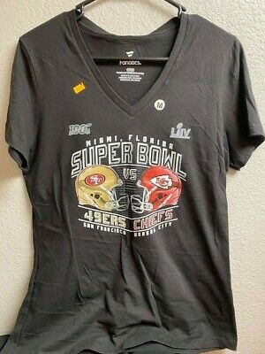 Super Bowl LIV T Shirt Tshirt Kansas City Chiefs Ladies V neck NFL 54 49ers