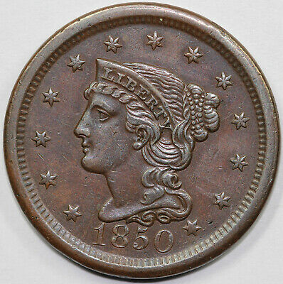1850 1c N-23 Braided Hair Large Cent