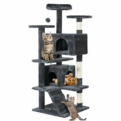 """51"""" Cat Tree Tower Condo Furniture Scratching Post Pet Kitty Play House Gray"""