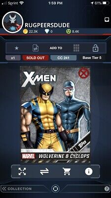 Topps Marvel Collect Wolverine & Cyclops Base Series 1 Ultimate Award Digital