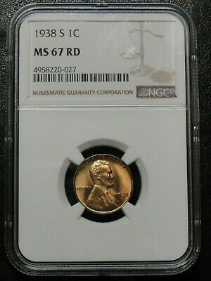 1938 S Lincoln Wheat Cent NGC MS67RD Brilliant Gem+ RED