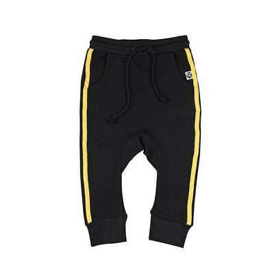 Little Villains Kids French Terry Track Pants in Black/Yellow Stripe