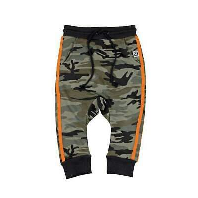 Little Villains Kids French Terry Track Pants in Camo/Orange Stripe