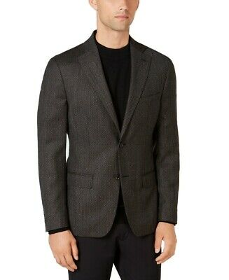 DKNY Mens Blazers Chocolate Brown Size 40R Slim-Fit Two Button Wool $450 008
