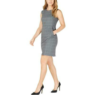 Anne Klein Womens Gray Plaid Sleeveless Office Sheath Dress size 16 (1402)