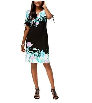 JM Collection Women's Printed Ruched-Sleeve Dress Black Size Extra Small