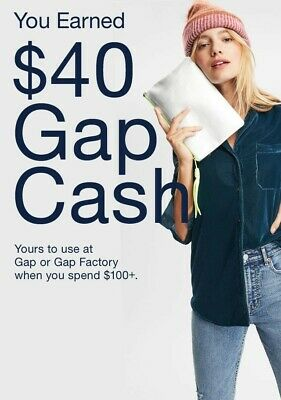 GapCash $40 used 2/25-3/2 at Gap or Gap Factory In-store or Online Email Deliv