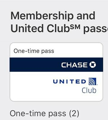 Two United Club one-time pass  (Expires April 13, 2020; E-mail delivery)