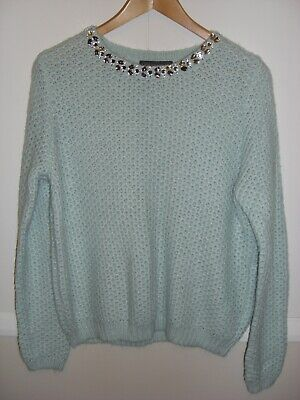 Ladies light mint green colour with beaded neckline Jumper from M&S. Size 14 UK