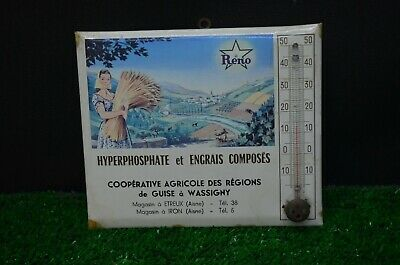 Ancien Thermometre Mercure Annee 50 Belle Lithographie Agriculteur