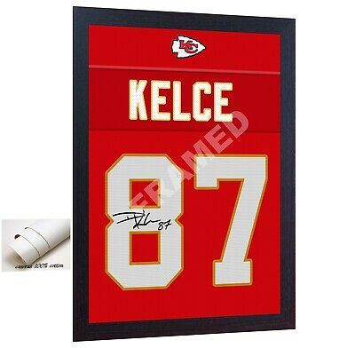 Travis Kelce Kansas City Chiefs signed printed on 100% COTTON Canvas FRAMED