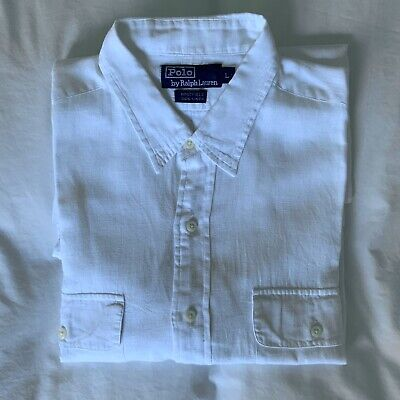 Vintage Polo By Ralph Lauren White Linen Shirt. Size L