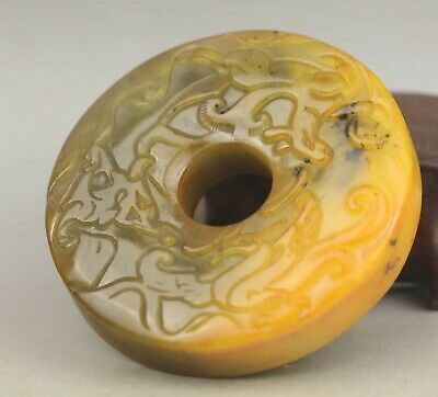 Chinese old natural jade hand-carved statue dragon phenix pendant 2.2 inch