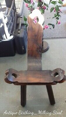Quality Hand Crafted Vintage 3 Legged Carved Wood Birthing Milking Stool
