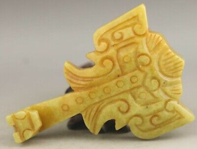 Chinese old natural jade hand-carved statue dragon pendant 4 inch