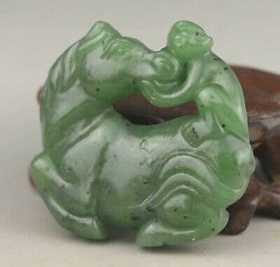 Chinese old natural hetian jade hand-carved statue horse 1.9 inch