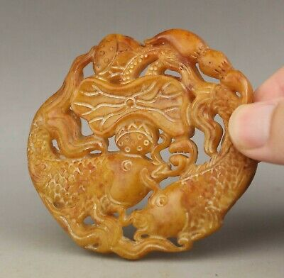 Chinese old natural jade hand-carved double fish pendant 2.8 inch