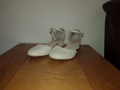 Monsoon Storm. White Lace Occasion Shoes. Size UK 6
