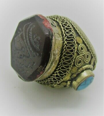 Beautiful Late Medieval Ottomans Silvered Ring Large With Stones Inset