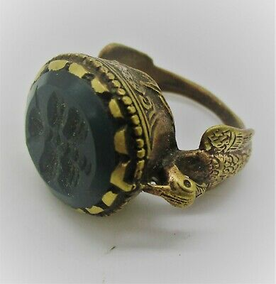 Beautiful Late Medieval Islamic Gold Gilded Ottomans Seal Ring With Stone