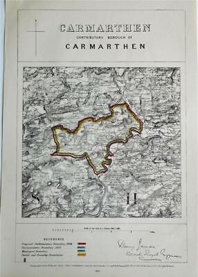 1868 Fine Antique Boundary Commission Ordnance Survey Map - Carmarthen, Wales