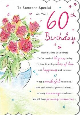 Words of Love ~ Happy 60th Birthday~ Age 60 Glittered Birthday Card Lovely Verse