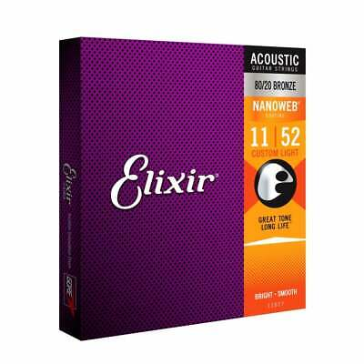 Elixir Nanoweb E11027 80/20 Bronze Acoustic Guitar Strings 11-52 Custom Light