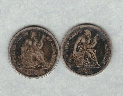 Usa 1877 & 1883 Silver Dimes In Good Fine Or Better Condition.