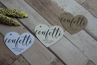 Personalised Heart shaped Wedding favour tags-Confetti tags