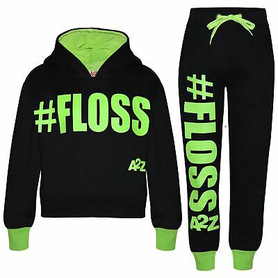 Kids Girls Jogging Suit Designer #Floss Hooded Crop Top Bottom Tracksuit 5-13Yr