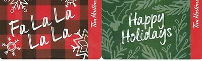 2 Tim Hortons Canada $0 Value Collectible Holiday Gift Cards